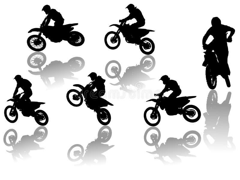 Set Motorradfahrer vektor abbildung