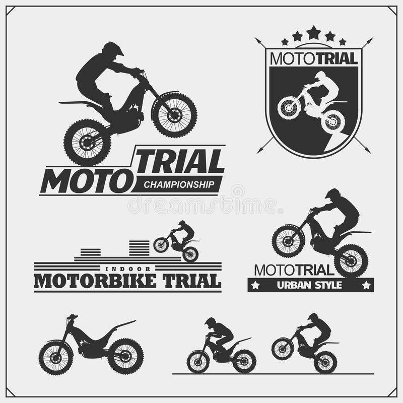 Set of motorsport silhouettes, labels and emblems. Motocross riders, moto trial. Vector stock illustration