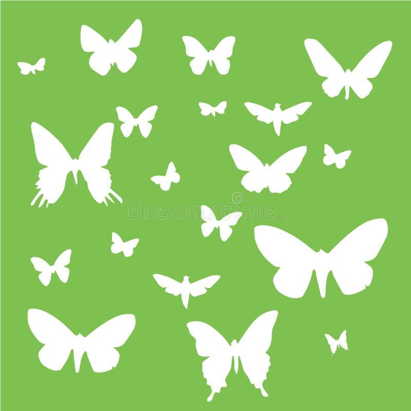 Set motyle na zielonym tle ilustracja wektor