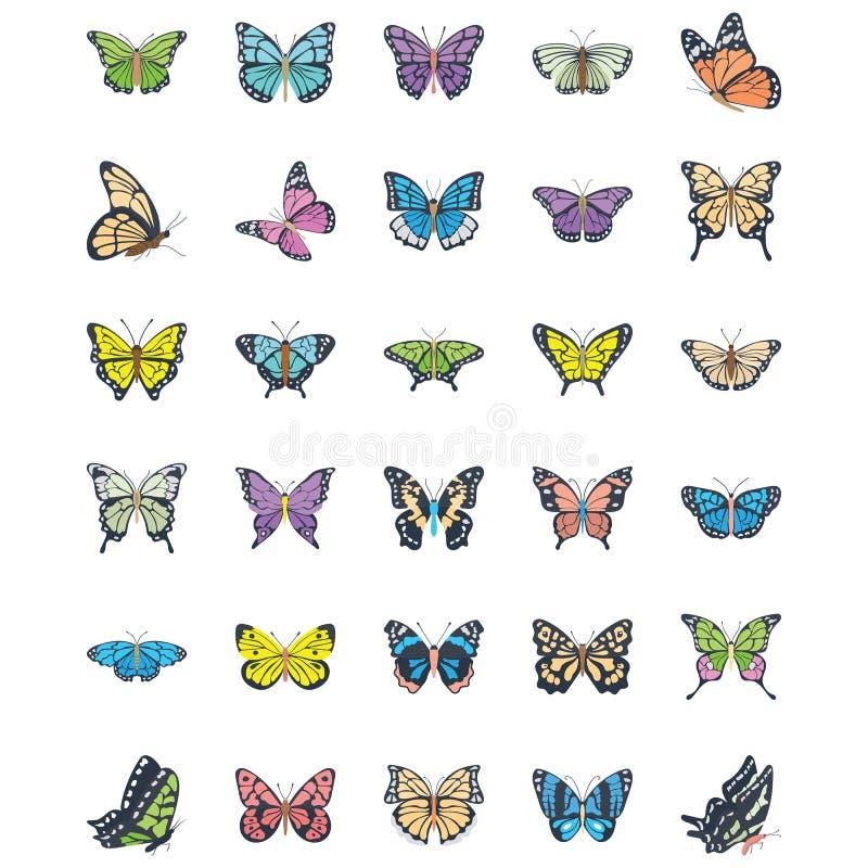 Set Motylie Płaskie Wektorowe ikony obraz stock