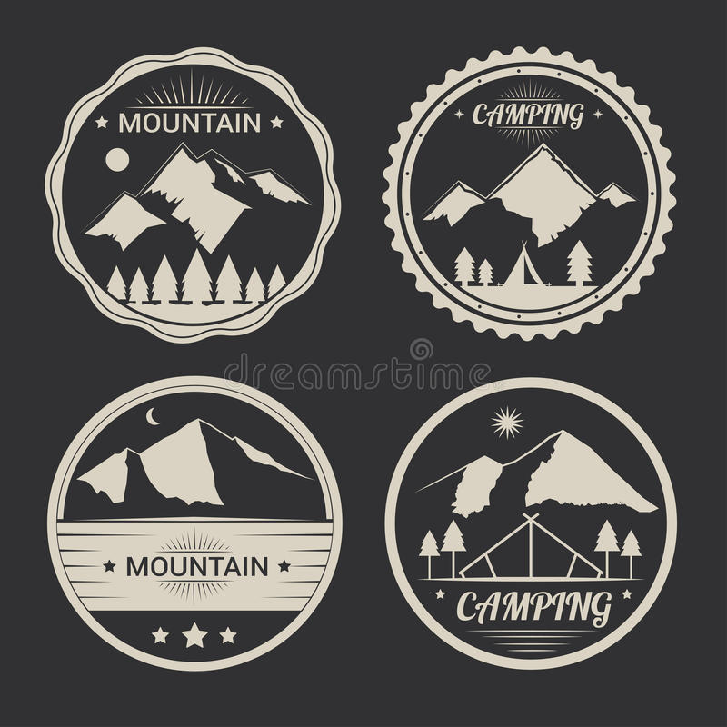 Set of mountain adventure and expedition badges. Vector illustration stock illustration