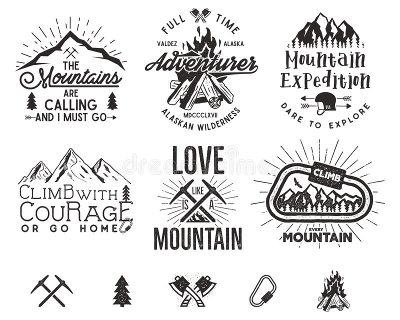Set of mountain climbing labels, mountains expedition emblems, vintage hiking silhouettes logos and design elements stock illustration