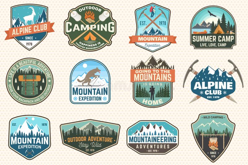 Set of mountain expedition and summer camp patches. Vector Concept for shirt or print, stamp, badge. Vintage typography. Set of mountain expedition and summer stock illustration