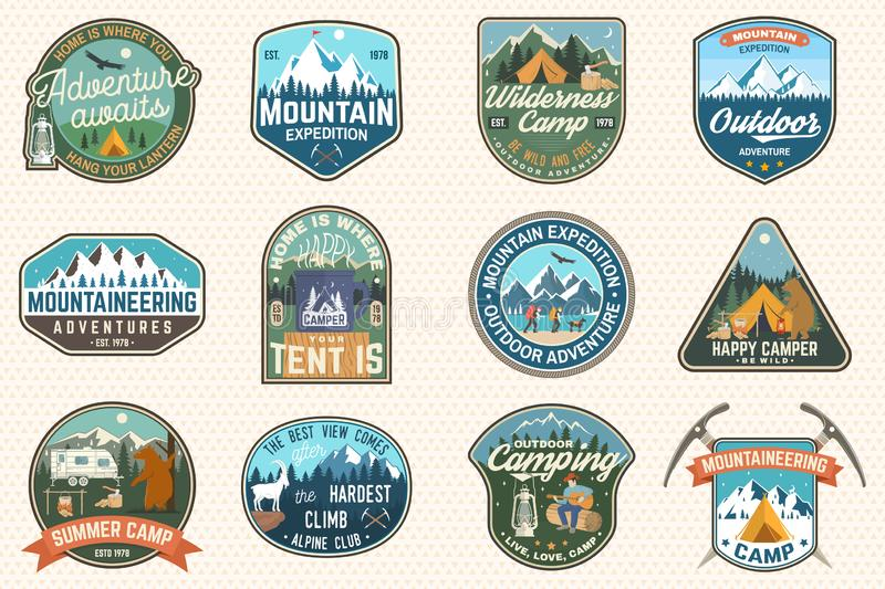 Set of mountain expedition and summer camp patches. Vector Concept for shirt or print, stamp, badge. Vintage typography. Set of mountain expedition and summer royalty free illustration