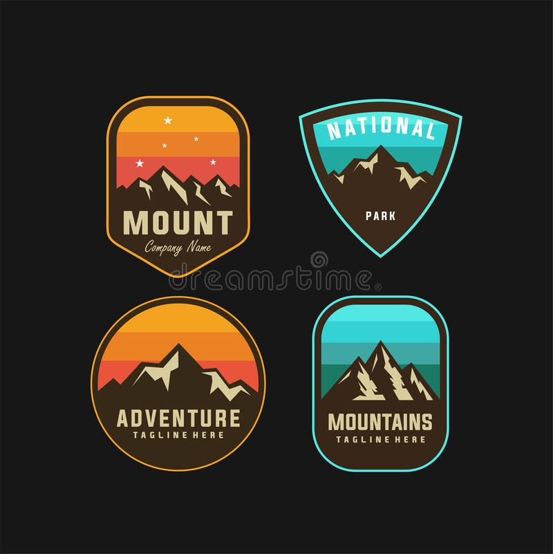 Set Of Mountain And Sea For Outdoor Adventure Emblem Logo Design Stock Vector Illustration Of Adventure Outdoor 204802563