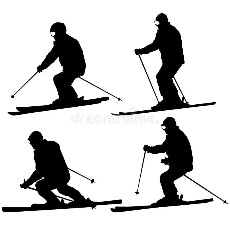 Set mountain skier speeding down slope. Vector sport silhouette royalty free stock image