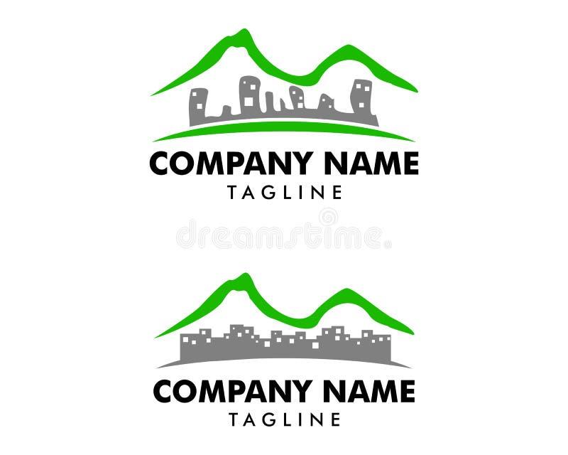 Set of Mountain Town Logo Icon Design royalty free illustration
