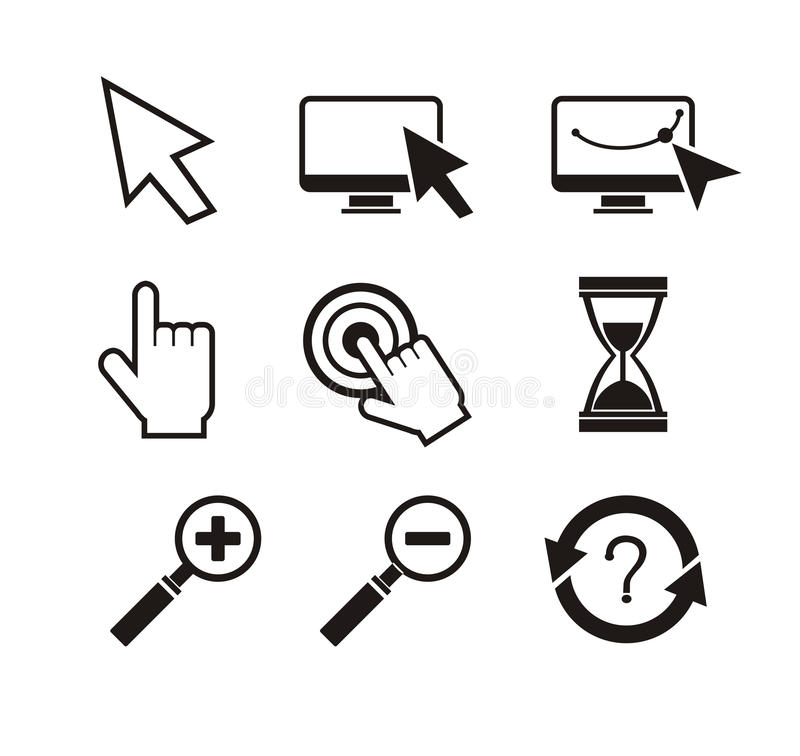 Set of mouse cursors hand cursor hourglass stock illustration