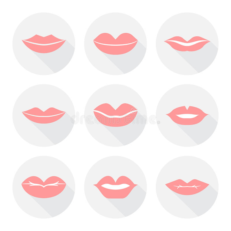 Set of mouth smile red woman lips in flat royalty free stock image