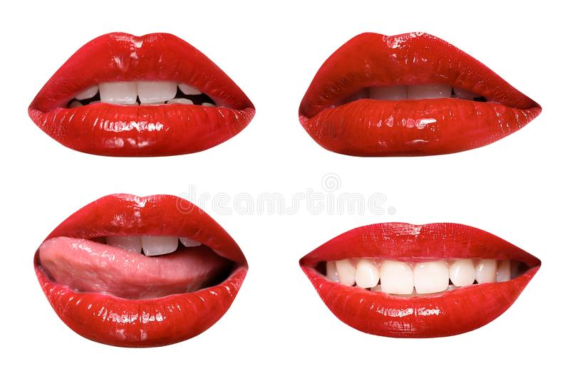 Set of mouths with beautiful make-up on white. Glossy red lipstick royalty free stock photography