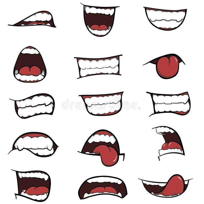 Set of mouths cartoon. A Set of Cartoon Mouths for you Design, Different emotions of cartoon mouths stock illustration