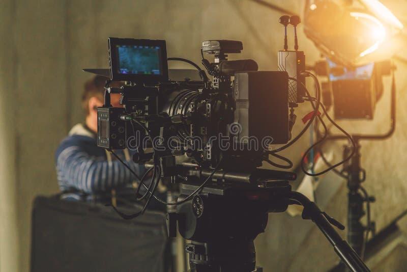 On-set movie camera stock photos