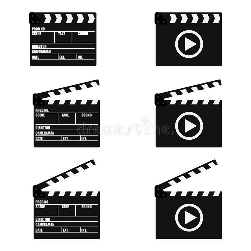 Set of movie clapperboard. Clapperboard icon. Movie production sign. Video movie clapper equipment. Filmmaking device. Isolated on background. Vector royalty free illustration