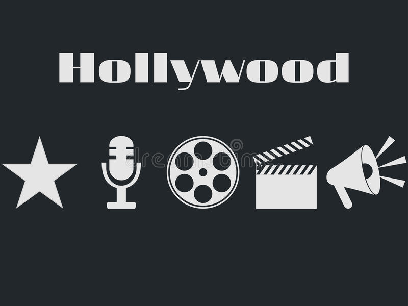 Set of movie design elements and cinema icons. Hollywood icons set. Film reel, movie clapper, microphone stock illustration