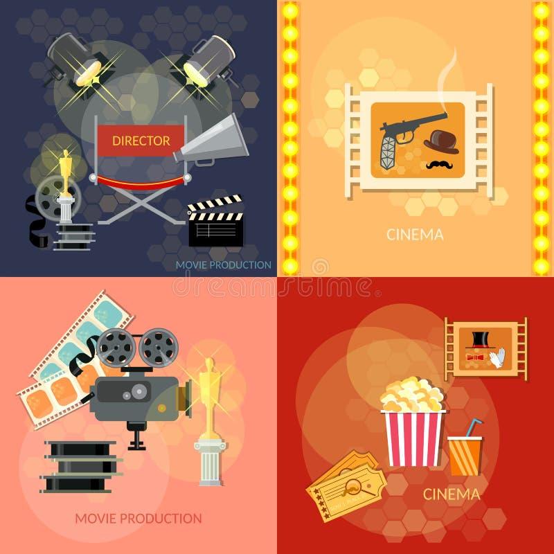 Set of movie, elements cinema, festival awards ceremony royalty free illustration