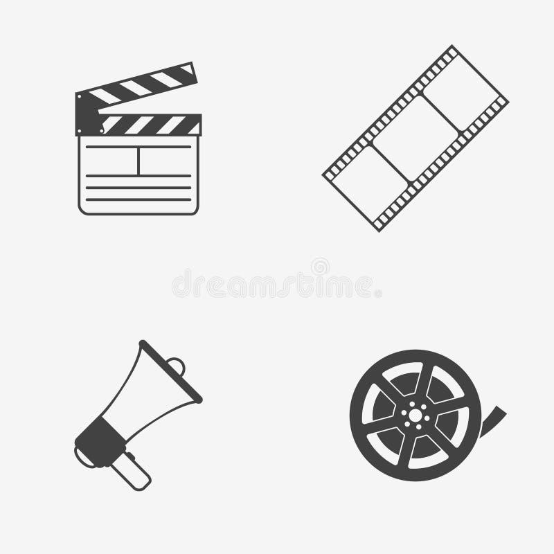 Set of movie monochrome vector icons. Film reel, strip, clapperboard and megaphone. Vector illustration. stock illustration