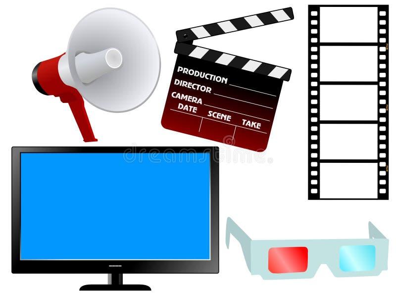 Set of movie objects royalty free illustration
