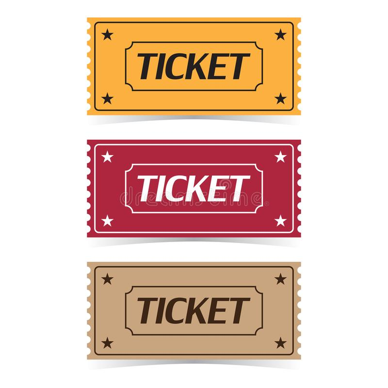 Set of movie ticket icons with shadow on a white background vector illustration