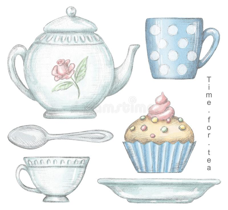 Set with mug, cup, teaspoon, teapot, plate and cupcake. Isolated on white background. Lead pencil graphic and digital illustration stock illustration