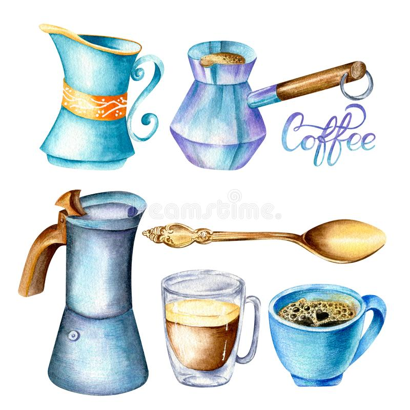 Set of mugs, moka pot, jezve, milk holder and spoon in blue, gold and violet colors stock illustration