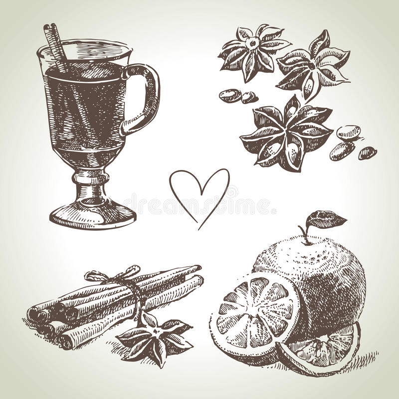 Set of mulled wine, fruit and spice stock illustration