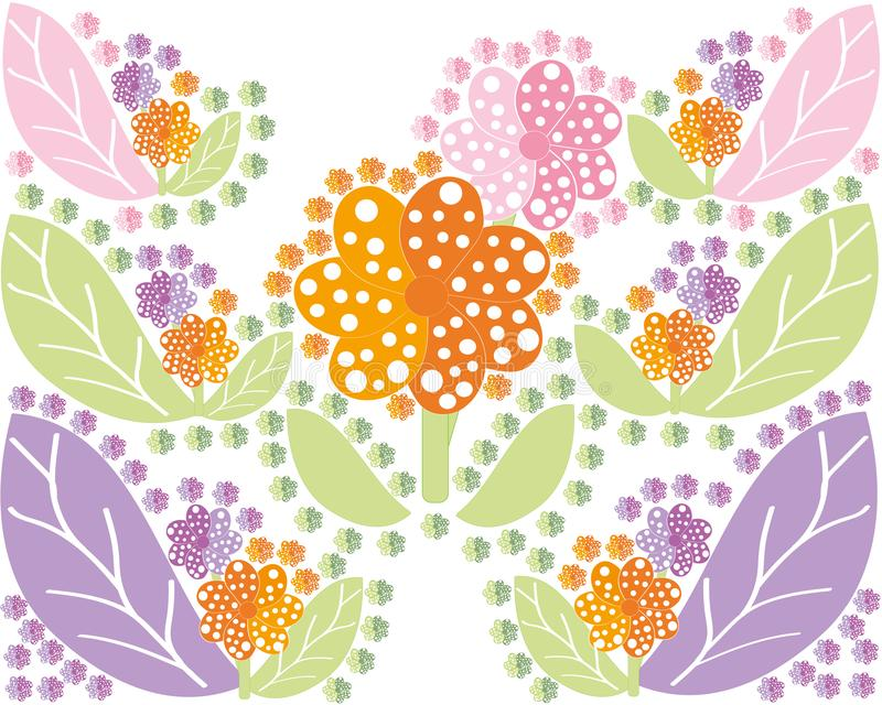 Set of multi colored flowers and leaves in a symmetrical form vector illustration