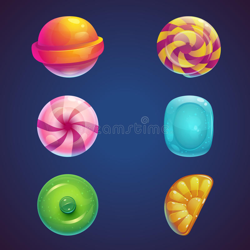 Set of multi colored jelly sweets stock illustration
