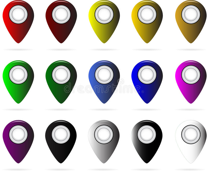 Set of multi-colored map pointers. GPS location symbol. vector illustration