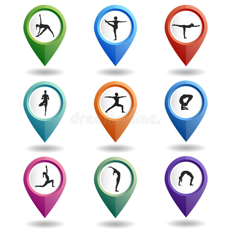 Set of multi-colored map pointers with a people in yoga poses. stock illustration