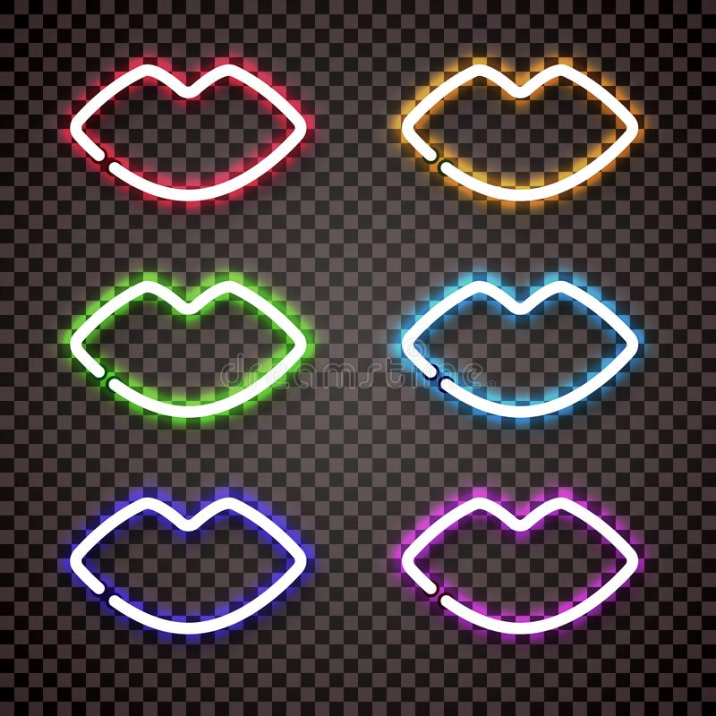 A set of multi colored neon lights in the shape of women`s lips. stock photography