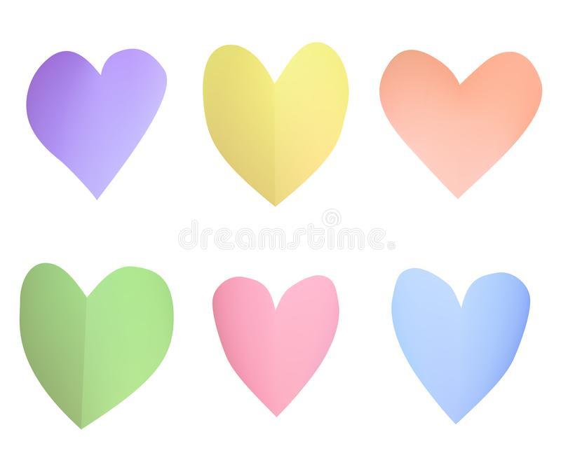 A set of multi-colored pastel paper hearts. royalty free illustration