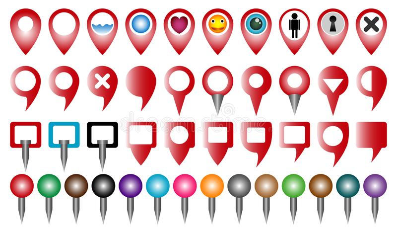 Set multi colored pointer or pin for map and gps location vector illustration