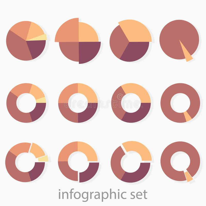 A set of 12 multi-colored round diagrams. Infographics. Set of 12 multi-colored round diagrams. Infographics. Daigaram with shadow. Sectors of different sizes stock illustration