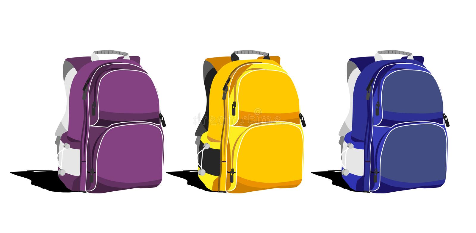 Set of multi-colored school backpacks on a white background. Object vector illustration