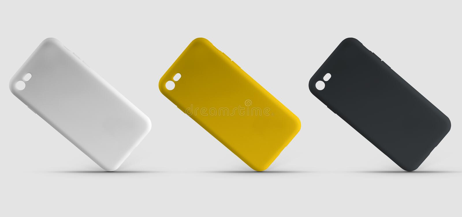 Set of 3 multi-colored smartphone cases, yellow, black and white, template on isolated background for design presentation. Mockup covers on mobile for stock illustration
