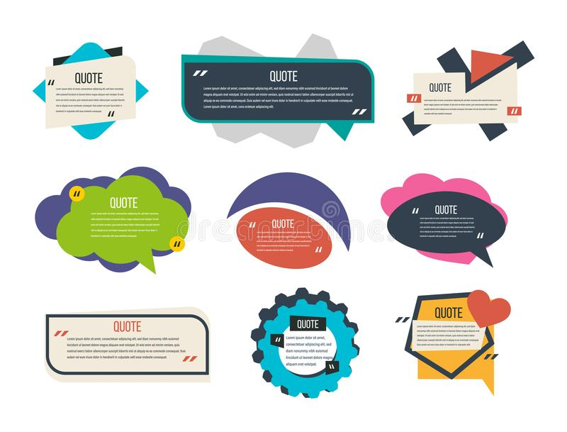Set of multi-colored text templates quotes, various forms, information, text. vector illustration