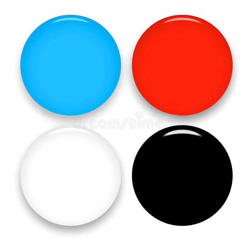 Set of multicolor blank round glass buttons on white background. Web icons template. 3d illustration royalty free illustration