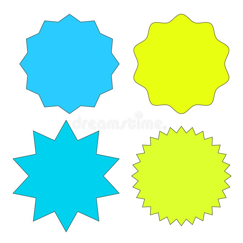 Set of multicolor starburst stamps on white background. Badges and labels various shapes. Vector illustration royalty free illustration