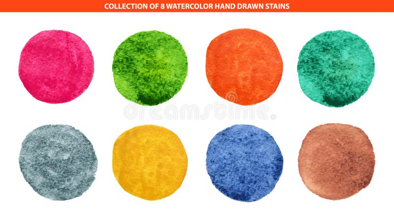 Set of 8 multicolor watercolor hand drawn circles background for logo, emblem. Isolated on white background vector illustration