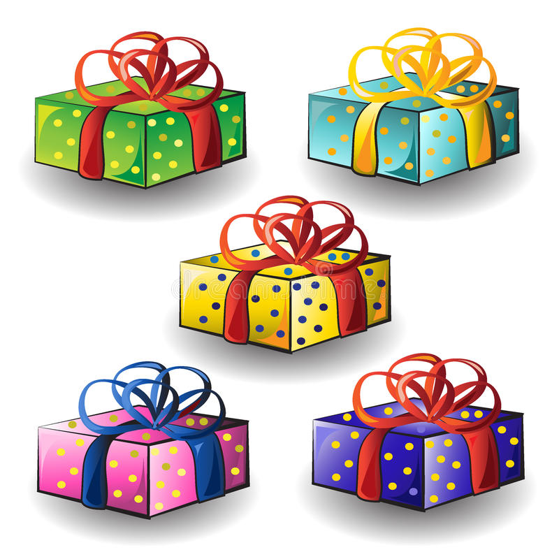 Set of multicolored birthday gifts royalty free stock photo