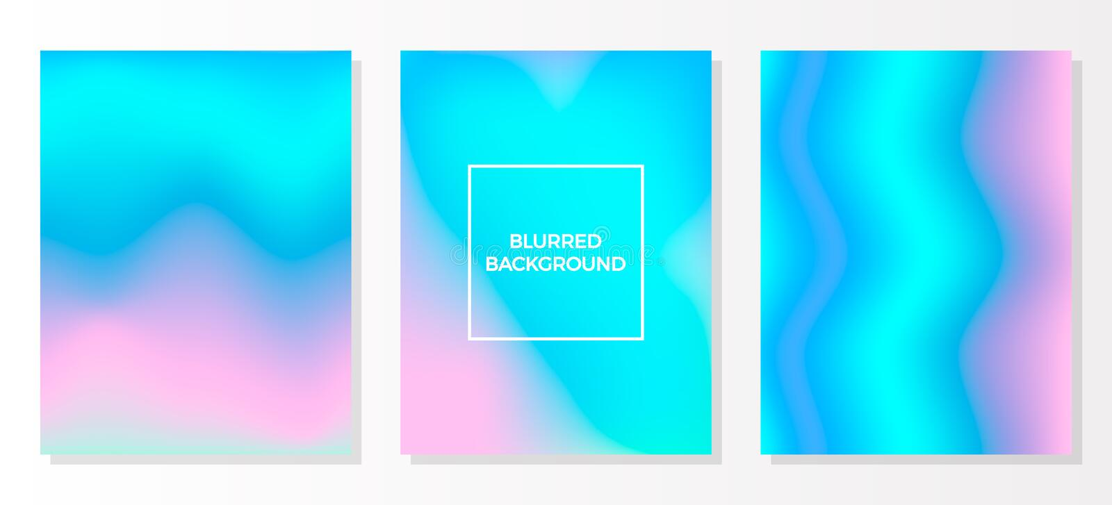 Set multicolored blurred vivid gradient backgrounds. Set of holographic vector colorful posters. Template for flyer and presentati stock illustration