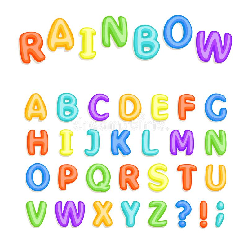 Set of multicolored bright kids letters stock photography