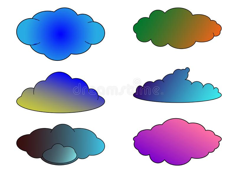 Set of multicolored clouds for the internet and weather forecasts vector illustration