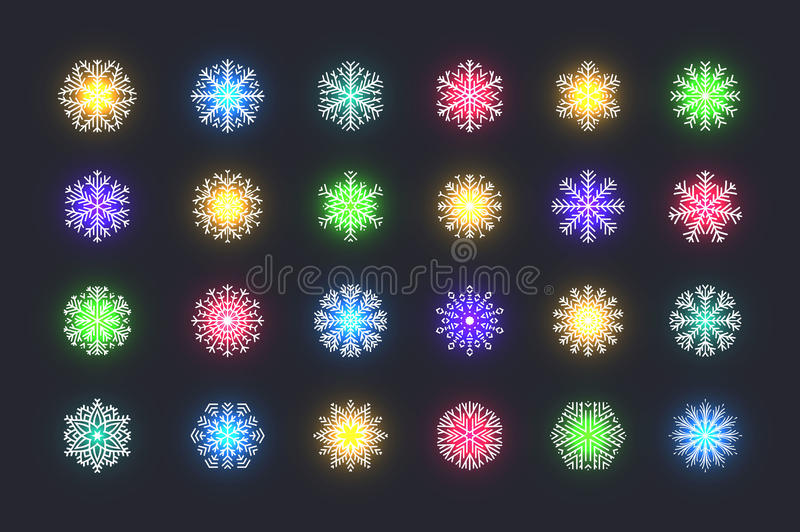 Set 24 multicolored different snowflakes of handmade with long shadow stock illustration