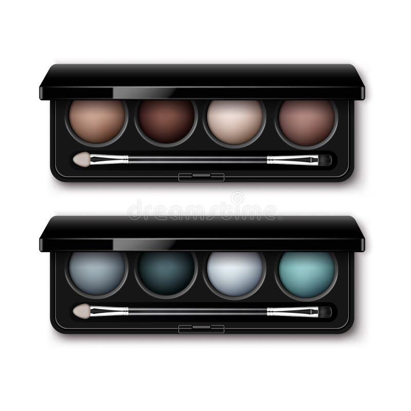 Set of MultiColored Eye Shadows, Makeup Applicator. Vector Set of Round MultiColored Pastel Light Brown Cream Ocher Dark Blue Azure Gray Eye Shadows in Black vector illustration