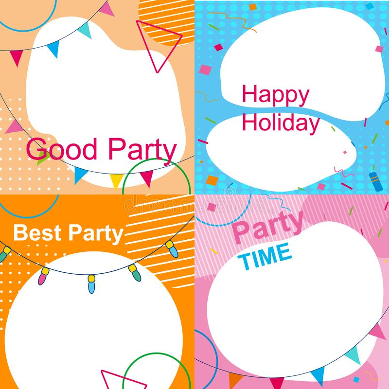 Set of Multicolored Festive Photo Frames for Party royalty free illustration