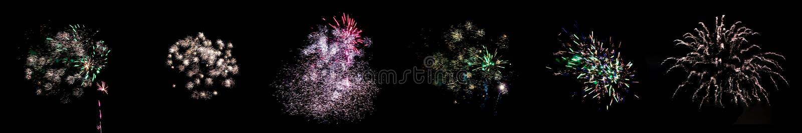 Set of multicolored flashes of fireworks isolated on black background stock photography