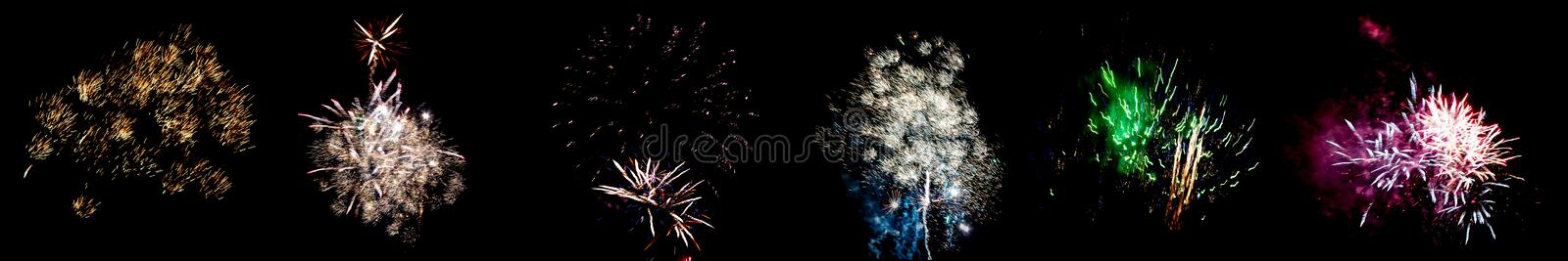 Set of multicolored flashes of fireworks isolated on black background.  stock images