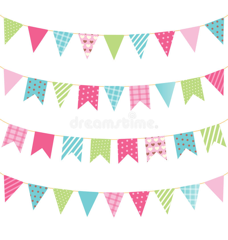 Set of multicolored flat buntings garlands with ornament isolate royalty free stock photography