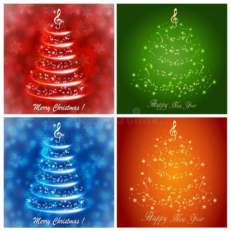 Set of multicolored greeting cards with an abstract musical Christmas tree, with notes and treble clef. Set of multicolored greeting cards with an abstract vector illustration
